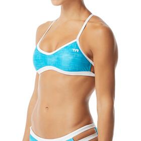 TYR Sandblasted Mojave Haut de maillot de bain à nouer Femme, turquoise/white